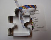 Autism Puzzle Piece Cookie Cutter with Thank-you Edge Jigsaw
