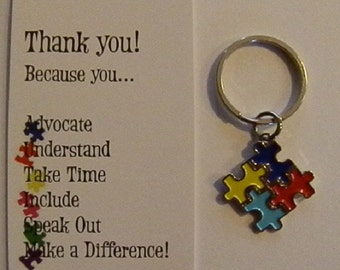 Autism Awareness Four Puzzle Piece Keychain