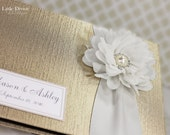 Personalized Wedding Guest Book Champagne White Sign Book