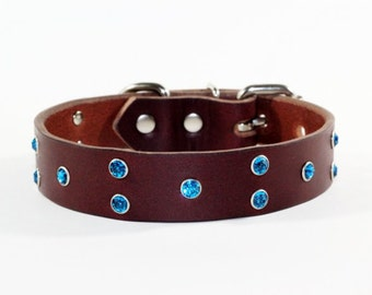 """Crystal Leather Dog Collar, Brown Leather Dog Collar, 1"""" Brown Leather Dog Collar, Blue Crystal Leather Dog Collar, Made In Ca"""