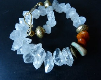 Antique Moroccan Amazonite, Baltic Amber and Herkimer Diamond Quartz Necklace, Statement Necklace, OOQA