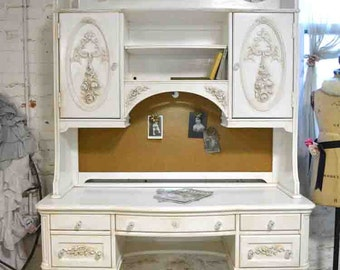 Painted Cottage Chic Shabby Romantic French Desk and Hutch Top DK277