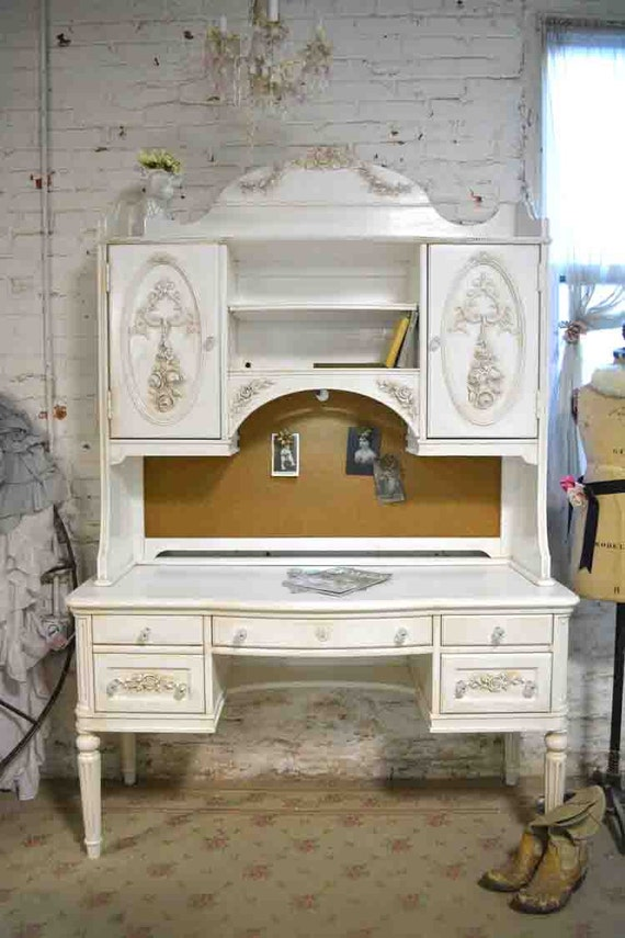 painted cottage chic shabby romantic french desk and hutch top. Black Bedroom Furniture Sets. Home Design Ideas