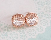 Emma - Rose Gold Clear Swarovski Crystal Rose Gold Ear Studs, Wedding Bridesmaid Earrings Jewelry, Swarovski Studs Square Cushion 10mm