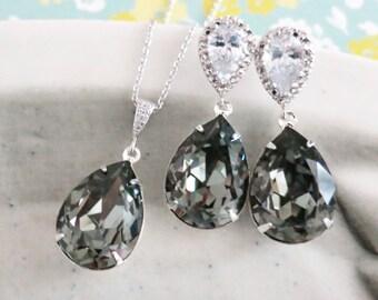 Sandra- Black Diamond Swarovski Crystal Teardrop Cubic Zirconia Teardrop Earrings Necklace Set, Bridesmaid Bridal Jewelry Wedding
