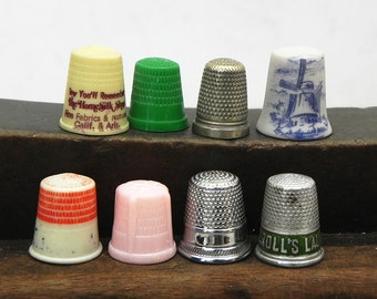 8 Vintage Thimbles Plastic Metal Porcelain Advertising Vintage Sewing