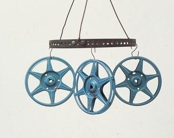 """3 vintage metal film movie reels 5"""""""