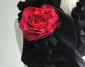 SALE - Mini RUFFLE scarf by FAIRYTALE13 - Black with Red Rose brooch pin - AW15