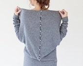 SALE - Designer dress | Gray sweater dress | Wool sweater dress | Button back sweater dress | LeMuse designer sweater dress