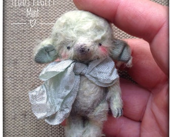 2 inch Artist Handmade Viscose Miniature Pocket Sized Teddy Piglet Mint by Sasha Pokrass