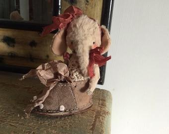 4 inch Artist Handmade Miniature Pocket Sized Teddy Elephant Gretta by Sasha