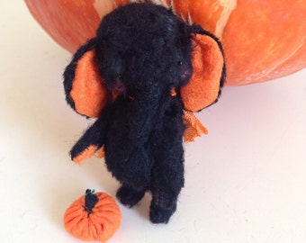 MADE TO ORDER 2 inch Artist Handmade Miniature Pocket Sized Black Elephant Boo by Sasha Pokrass