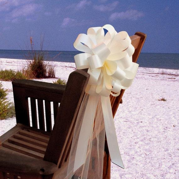 Wedding Pew Decoration Ideas: 10 Ivory Pew Pull Bows Tulle Beach Wedding Decorations Church
