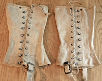 Price REDUCED - Military Gaiters - Boot Covers - Spats - Chaps, WWII issued canvas with shoe straps, laces, hooks - good vintage condition