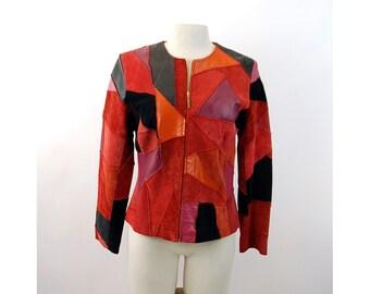 Suede patchwork jacket blazer zipped jacket red black pink crazy quilt design Margaret Godfrey Size 6 Medium