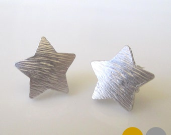 SALE Large Star Studs- Matte Silver Star Stud Earrings- Mate Gold Star Stud Earrings- Star Stud Earrings- Star Earrings- EGS-SD2