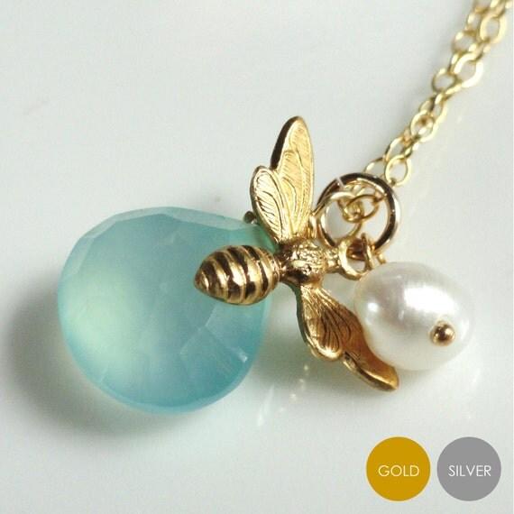 Aqua Chalcedony Bee Necklace- Bee Charm Necklace- Gold Bee Aqua Chalcedony Necklace- Silver Bee Aqua Chalcedony Necklace- NGS-BEE4