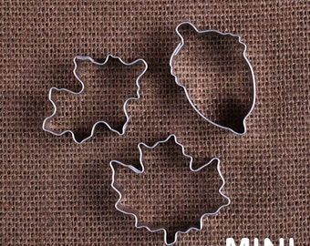 MINI Fall Cookie Cutter Set with Acorn Cookie Cutter, Maple Leaf Cookie Cutter and Oak Leaf Cookie Cutter, Mini Thanksgiving Cookie Cutters