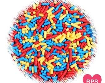 Back to School Jimmies Sprinkles in Red, Yellow & Blue, Primary Decorettes, Back to School Sprinkles, Sugar Strands, Edible Sprinkles