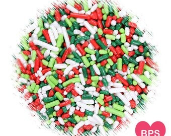 Merry Christmas Jimmies Sprinkles in Red, Green, Lime, White, Christmas Cookie Sprinkles, Holiday Sprinkles, Christmas Sprinkles