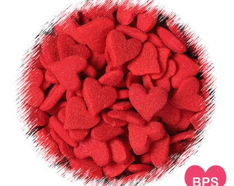 Jumbo Red Heart Sprinkles, Valentine's Heart Sugar Shapes, Heart Quins, Christmas Sprinkles, Valentine's Sprinkles, Edible Sprinkles