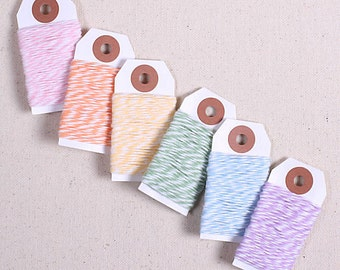 Pastel Rainbow Bakers Twine, Easter Bakers Twine, Cotton Twine, Gift Wrap, Pastel Baker's Twine, Gift Wrapping, Cotton String, Rainbow Twine