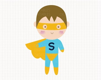 Boy Superhero Digital CLIP ARTS personal and commercial use for invitations, cupcake toppers, birthday cards, party supplies