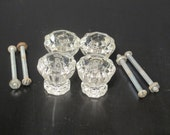 Vintage Clear Glass Knobs Set of 4 / Antique Old Fashion Kitchen Salvaged Drawer Pull Decagon Cabinet Door Knob Reuse Repurpose Recycle