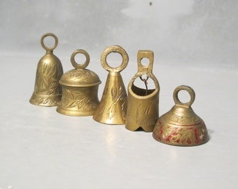 Set of 5 Etched Mini Brass Bells / Instant Collection Tiny Ornamental Bells, Rustic Decor Small Curio Display Primitive Folk Art Assemblage
