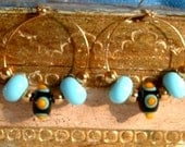ARTISAN 25mm Gold filled  HOOP Handmade Turquoise Black with Yellow Dots Lampwork Earrings - or Silver