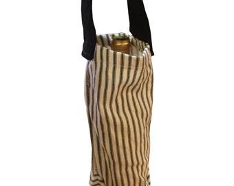 Cotton Wine Bag, wine bags, reusable wine bag, wine gift bag, black and white wine bag