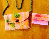 Children's Wool Felted Orange,Pink,Green Purse/ Free Shipping With Purchase Of Another Item/Ready To Ship
