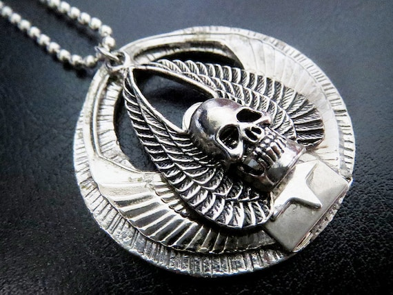 Handmade Skull with Wings Silver Medallion Necklace