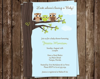 Owl, Baby Shower Invitations, Green, Gender Neutral, Tree, Co Ed, Family, Coed, Hearts, Hoot, 10 Printed Invites, FREE Shipping, Customized