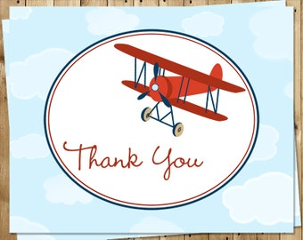 Airplane Thank You Cards, Boys, Baby Shower, Birthday, Blue, Red, Plane, Set of 24 Folding Notes, FREE Ship, UUARD, Up Up and Away Red