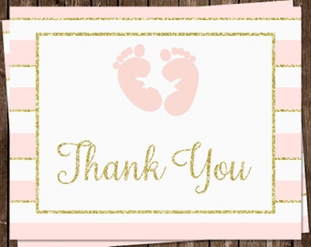 Glitter, Baby Shower, Thank You Cards, Footprints, Pink, Rose, Coral, Traditional, Gold, Glitter, 24 Folding Notes, FREE Shipping, ITGRL