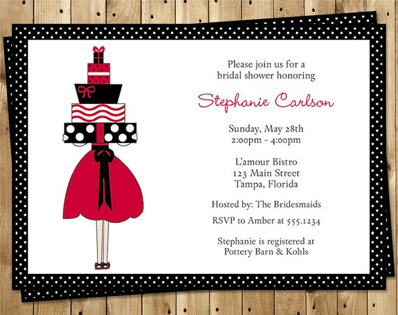 Bridal Shower Invitations, Wedding, Polka Dots, Red, Black and White, Set of 10 Printed Cards, FREE Shipping, LOLOR, Lots of Love Red