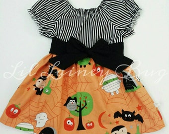 SALE Girls Halloweeen Dress - Spooky and Sweet - Halloween Peasant Style Dress - Short Sleeves - Baby Toddler Girls - With Removable Sash