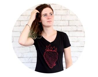 Strawberry Graphic Tee Shirt, Ladies Sporty Vneck Tshirt, Hand Screenprinted, Fresh Fruit, Farmers Market Produce, Berry Sweet, Black Shirt