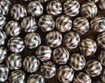 10 x 12mm polymer clay brown black and white check round beads