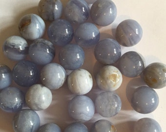 10 x semi precious blue lace agate 10mm beads