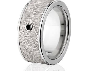 Meteorite Rings, Black Diamond Meteorite Wedding Rings - Sku: Impg-10F-Meteorite-BlkDia
