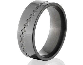 Sports Rings, Black Baseball Bands, Premium Sports Baseball Ring : BZ-8F-M-Baseball