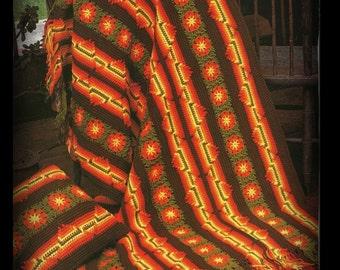Crochet Afghan Pattern - Southwest - Granny Squares - PDF No. 02205646 - PATTERN
