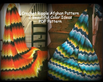 Crochet Afghan Pattern - Classic Ripple - One Pattern with 2 Beautiful Color Choices - PDF 02210829 - PATTERN ONLY