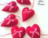 Set of 6, Felt Ornaments, Red Hearts, Valentine Ornaments, Felt heart ornaments