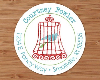 Courtney (Shabby Chic Birdcage) - Custom Address Labels or Stickers