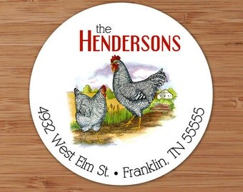 Roosters on the Farm - Custom Address Labels or Stickers