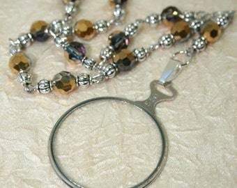 Monocle Magnifier Pendant with Blue/Gold Glass Beaded Necklace Magnifying Lens diopter + 5.50