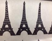 15 pc Large  Black Glitter Eiffel Tower Stickers